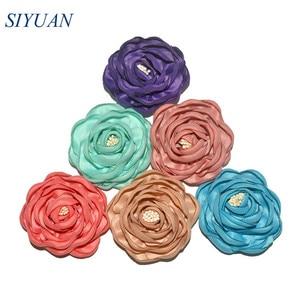 5pcs/lot 2.4'' Classic Burned Fabric Satin Camelia Flower with Hair Clip 20 Popluar Colors Girl Hair Accessory TH284(China)