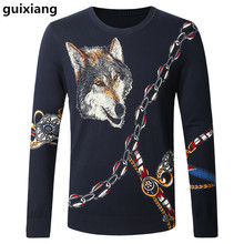 New style 2017 Spring and Autumn men sweaters leisure knit wolves pattern color Men's fashion wool sweater large size M-4XL