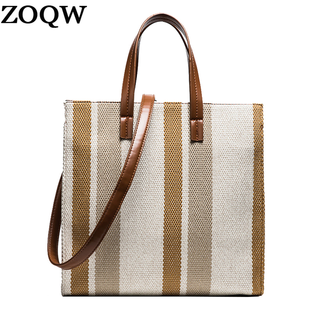bae0e97299 ZOQW 2018 Korean Canvas Bag Women Messenger Bags Striped Designer Handbags  High Quality Casual Tote Bag Lady Handbag sac WYQ643