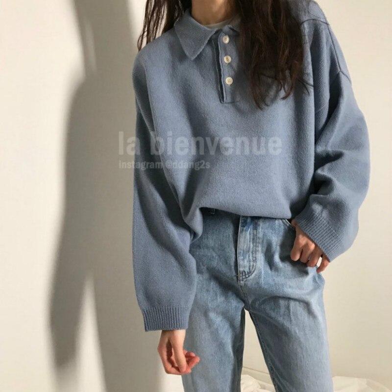 Femmes automne Hiver surdimensionné Pull avec boutons tricoté Pull Pull décontracté lâche grande taille Pull Femme Hiver Truien Dames