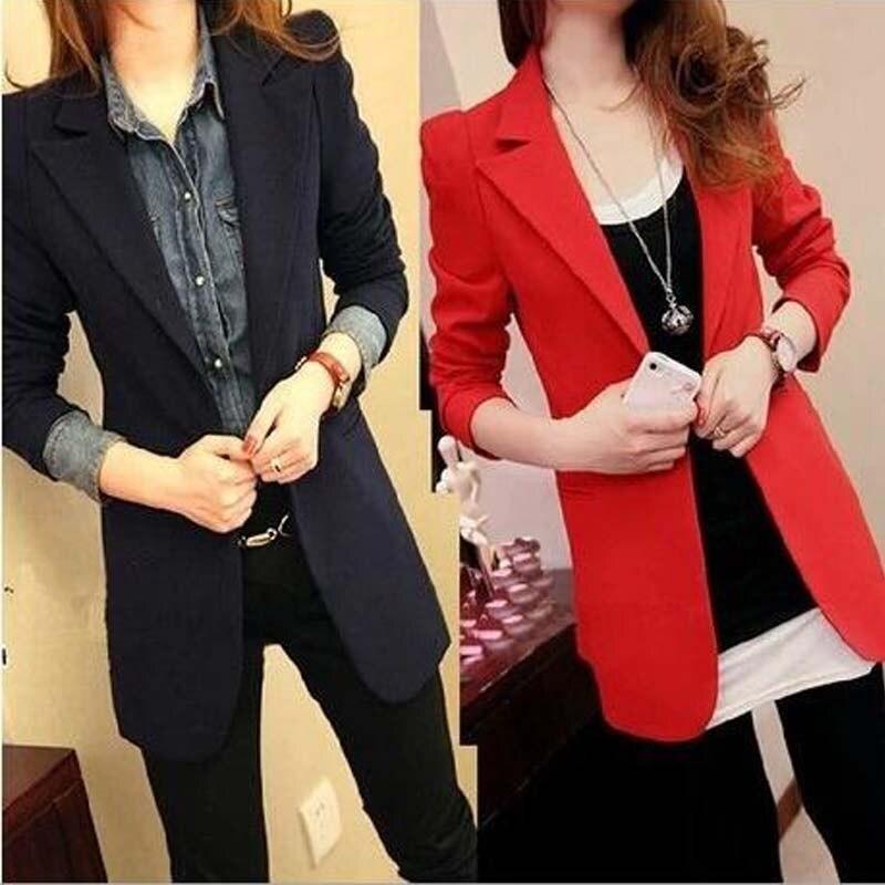 2018 Frauen Anzug Dünne Weibliche Blazer Oberbekleidung Lange-sleeve Winter Frauen Jacke Medium-lange Blazer