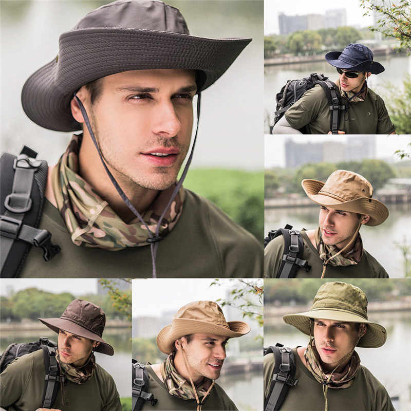 Details about  /Outdoor Sun Hat Wide Brim Bucket Fashion Hat Fishing Hunting Climbing Unisex