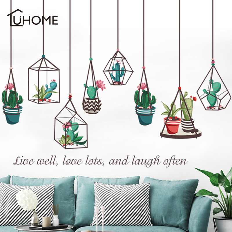 Cactus Bonsai Potted Flower Succulents Plants Wall Stickers for Kids Room Decorative Home Decor Kitchen Window Living Room Decal