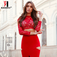 HAGEOFLY Sexy Two Pieces Set Bandage Dress Black Red Lace Evening Party Club Sexy Women's Dresses Runway Vestidos
