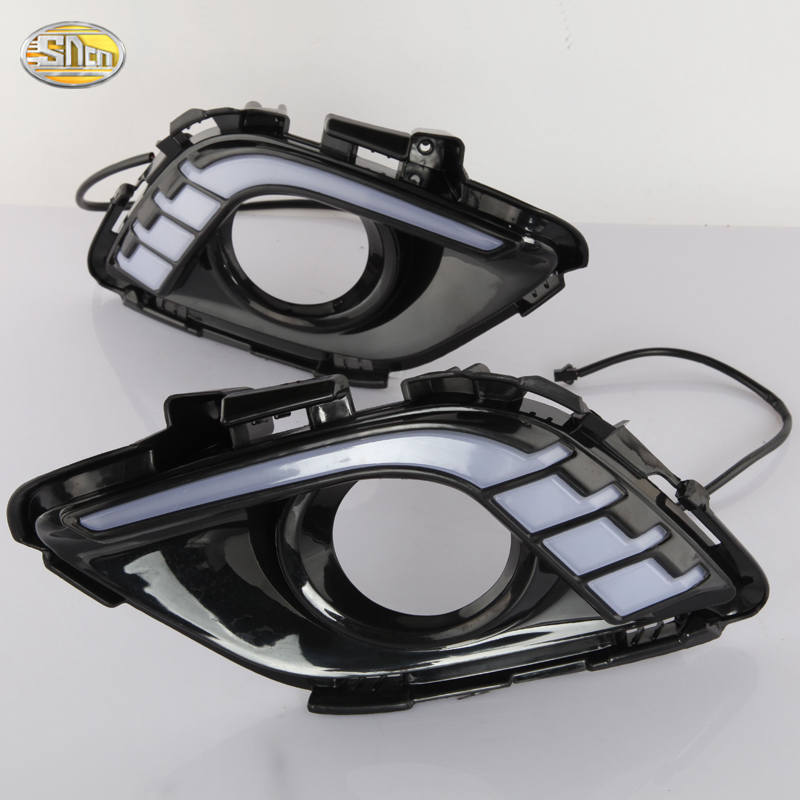 SNCN LED Daytime Running Lights for Mazda 6 2013 2014 2015 ABS fog lamp cover 12V DRL