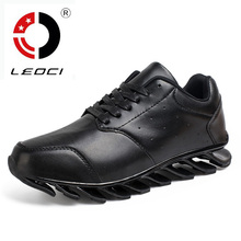 LEOCI Mens Running Shoes 2016 Leather Men Shoes Athletic Jogging Shoes Sport Sneakers Training Shoes Men Trainers Zapatos Hombre