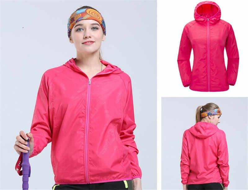 速乾ユニセックス防風ハイキングジャケット軽量防水ナイロンスポーツ太陽保護トップ帽子