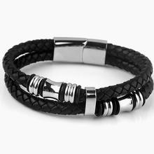 Mens Braided Bracelet Genuine Leather Stainless Steel Cuff Bangle Fashion Titanium Jewelry