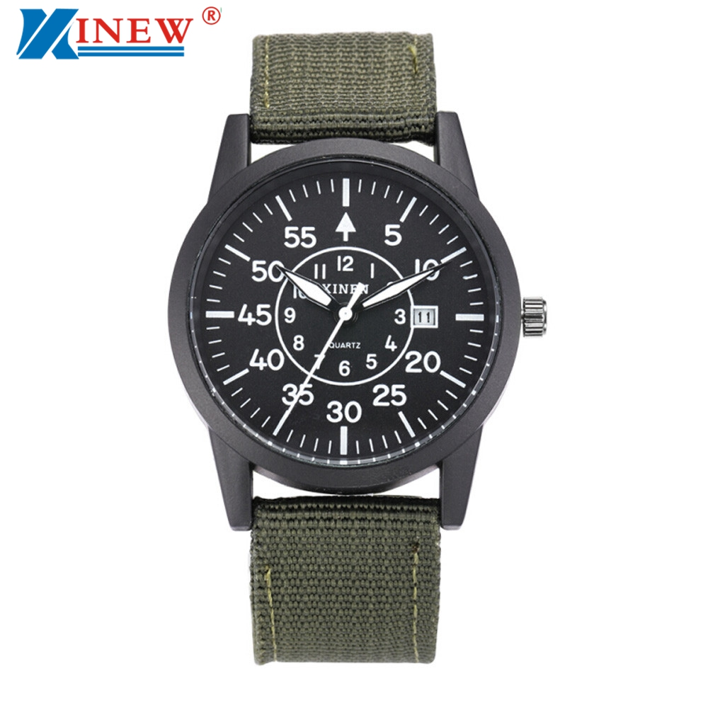 Xinew canvas military watches for men steel dial quartz watch mens brand date clock army sports for Watches for men