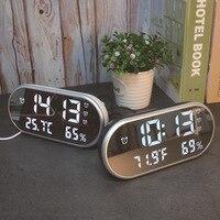 LED Temperature and Humidity Meter Multi function Alarm Clock Screen Charging Clock Smart Digital Desktop Clock