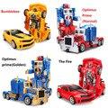 RC Преобразования 4 electric Toys один ключ дистанционного управления Optimus prime детей робот автомобилей фигурки класса Мальчики Подарок