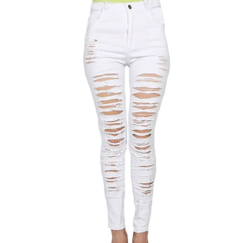Popular White Ripped Jeans-Buy Cheap White Ripped Jeans lots from