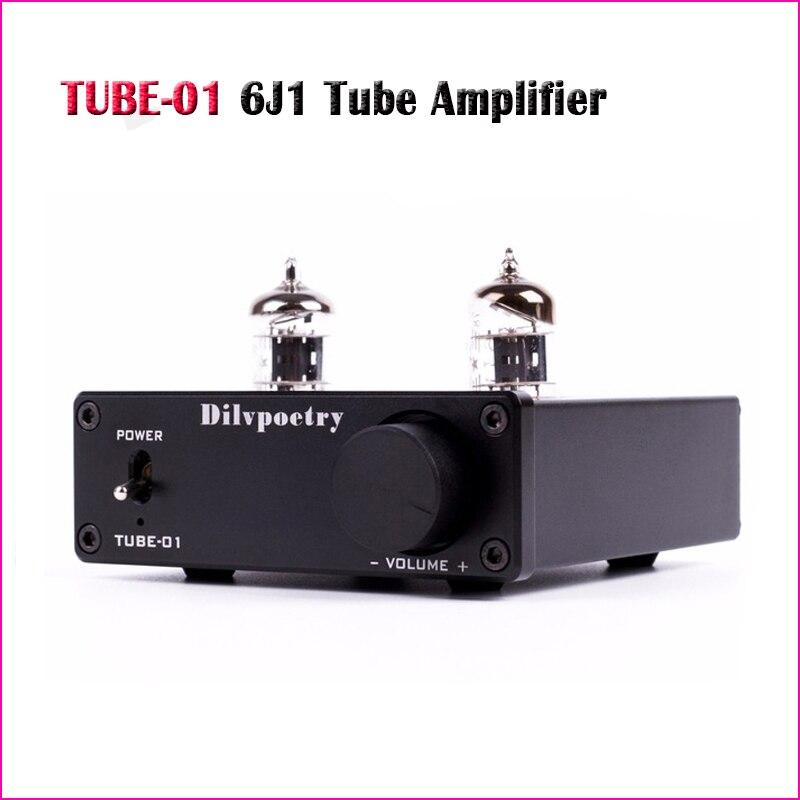 Dilv poésie Tube-01 mini tube amplificateur maison portable préamplificateur tube tampon 6J1 stéréo vide tube amp hifi préampli amplificateurs