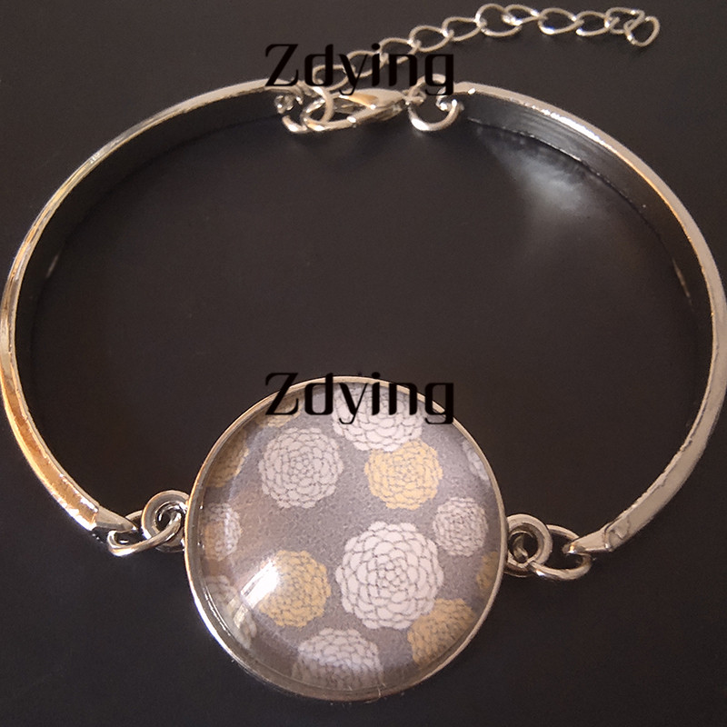 ZDYING Handmade Arabic Allah Muslim Islamic Bracelet Glass Cabochon Charms Chain Bangles Religious Jewelry AL010