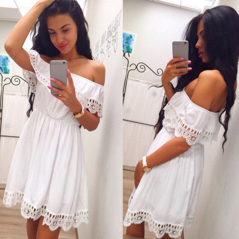 Fashion Women Elegant Vintage sweet lace white Dress Stylish Sexy Slash Neck Casual Slim Beach Summer