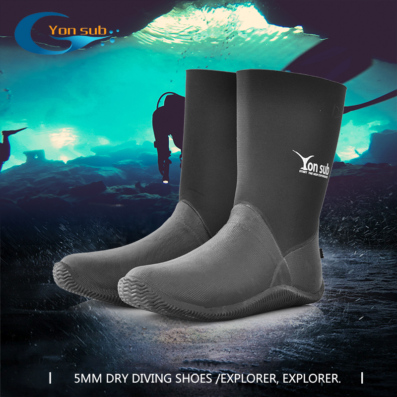 5MM Dry Vulcanized Rubber Diving Boots High Waterproof Shoes Wear-resistant Diving Shoes Used For Car Wash Diving Snorkelling