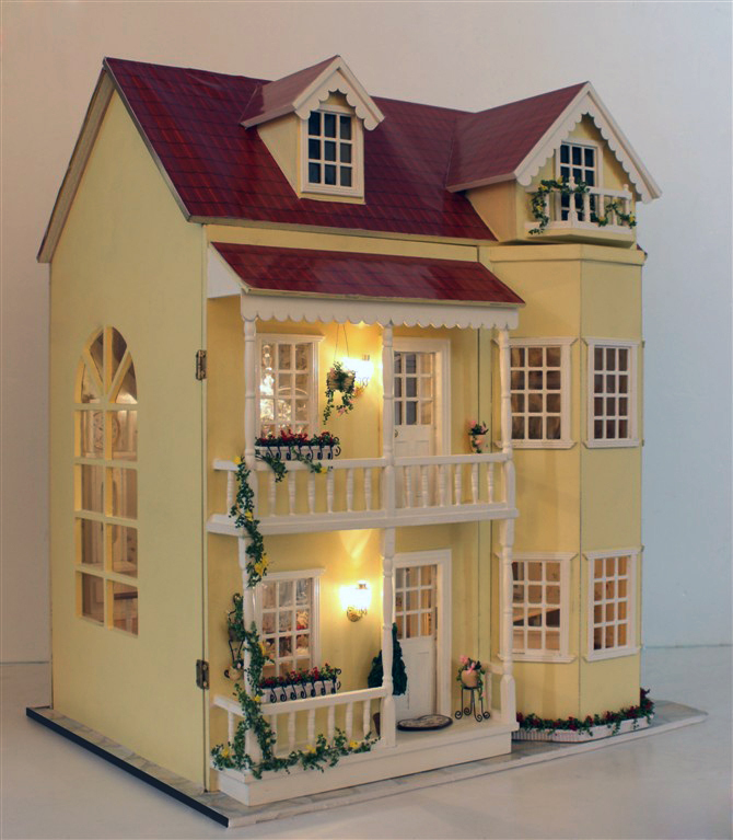 Fairy Tale housetead III DIY Wooden Dollhouse Lighting Three storeyed House Gift with lightin