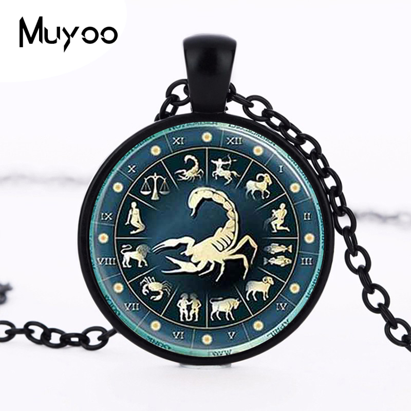 Glass Dome Necklace Scorpio Zodiac mens Jewelry Astrological Sign Scorpion October November Birthday Art Pendant 78cm chain HZ1