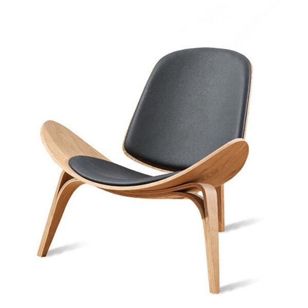 Hans Wegner Style Three Legged Shell Chair Ash Plywood Black Faux Leather Living Room Furniture Modern Replica