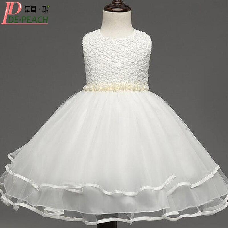 New 2016 Christmas Girls Dress Kids Flower Pearl Belt Dress For Wedding Party Princess tutu Dress Toddler Girls Clothes Vestido