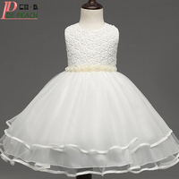New 2016 Christmas Girls Dress Kids Flower Pearl Belt Dress For Wedding Party Princess Tutu Dress