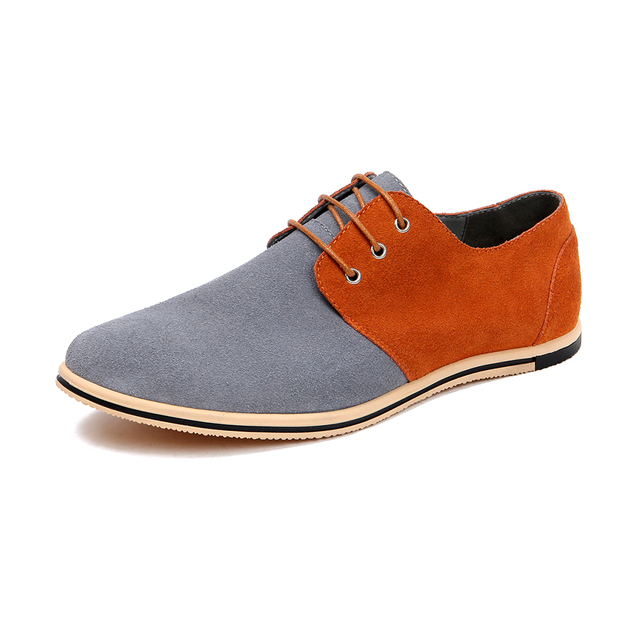 d5726c0639 New Arrival 2019 Men s Large Size Casual Shoes Mens Fashion Lace-Up Spell  Color Suede Shoes Breathable Big Male Flats Size 38-50