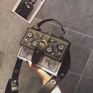 Image 4 - Toposhine Fashion Women Bag Panelled Vintage Flower Girls Bags for Girls Black PU Leather Women Messenger Bags Drop Shipping