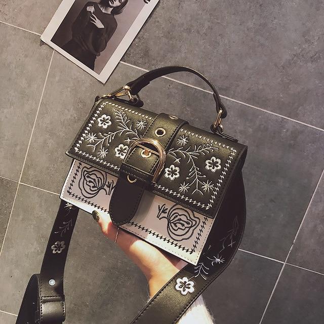 Toposhine Fashion Women Bag Panelled Vintage Flower Girls Bags for Girls Black PU Leather Women Messenger Bags Drop Shipping 3