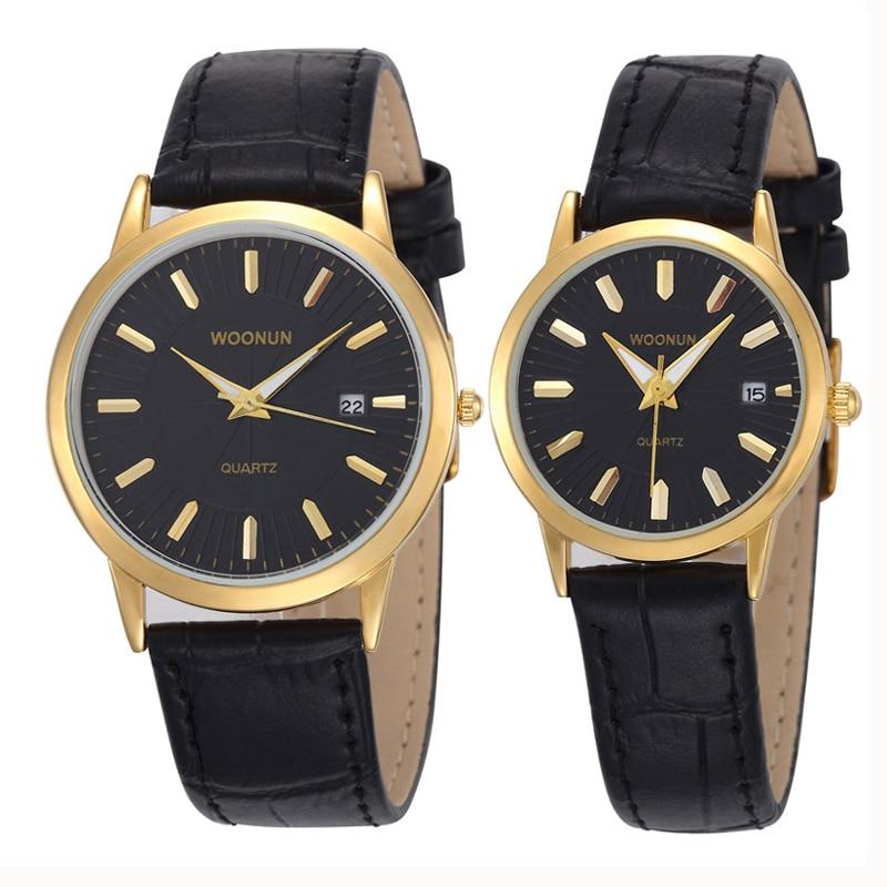 WOONUN Top Luxury Brand Couple Watches For Lovers Genuine Leather Strap Quartz-Watch Fashion Men Women Pair Watches Best Gift