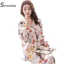 Smmoloa Women Long Sleeve Pajamas Long Sleeve Women Satin Pyjamas Silk Sleepwear