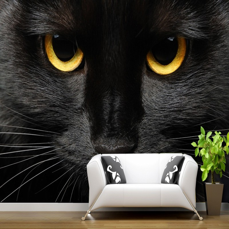 Custom photo wallpaper Custom Black cat golden pupil mural animal background wall pet shop studio office bar gallery wallpaper lps pet shop toys rare black little cat blue eyes animal models patrulla canina action figures kids toys gift cat free shipping