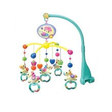 lowest price best quality rattle baby toy carousel shape musical recreation ground baby mobile bed bell with 12 music(China)