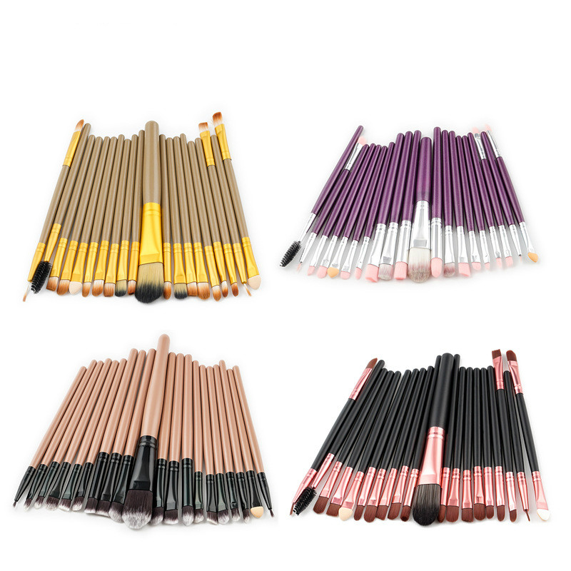 Professional 20 pcs Makeup Brush Set Foundation Eyeshadow Eyeliner Lip Cosmetic Brushes Toiletry Kit pincel maleta de maquiagem 4 pcs golden professional makeup brushes waistline sculpting brush set cosmetic tool maquiagem accessories with original box