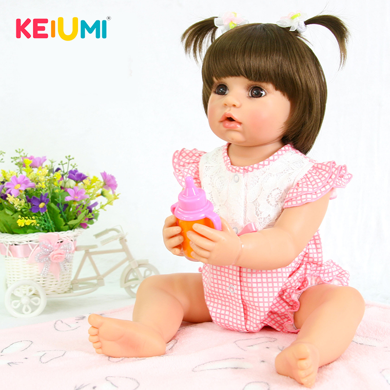 KEIUMI 22 inch Full Silicone Vinyl Reborn Babies Dolls Baby Girl New Design Kids Playmates Toys Doll Reborn 55 cm Real Princess keiumi 23 inch reborn baby doll full body silicone princess babies girl real like new born doll boneca reborn kids playmates