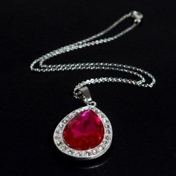 3f583580eaf1 Nueva Sofía Rosa amuleto collar rosa oscuro rhinestone tear drop traje de  Sophia la primera rosa amuleto magenta damas collar