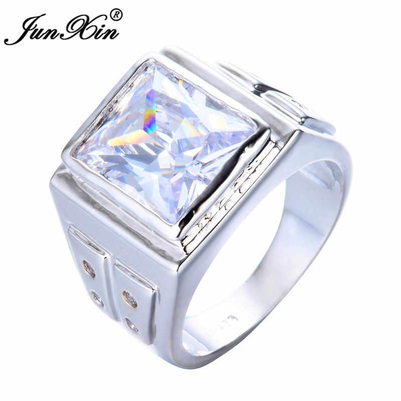 สไตล์เรียบง่ายชายหญิง 925 แหวนเงินสีฟ้าสีขาว Zircon แหวนสัญญารักหมั้นแหวนสำหรับชายผู้หญิง