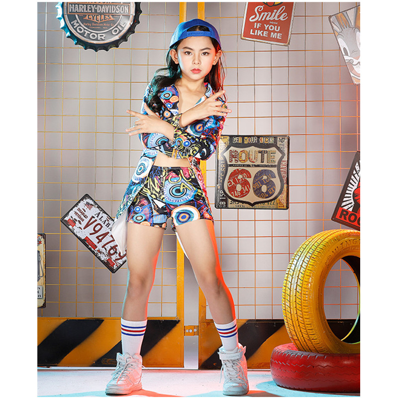 New Girls Children hip-hop Dance Costumes Sets Kids Jazz Camouflage Color Swallowtail Clothes Halloween Party Clothing