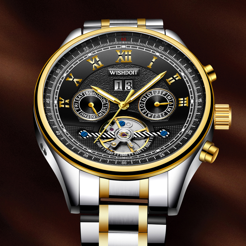 WISHDOIT New mens watches top brand luxury Fashion casual sports men business automatic mechanical watchs Men's watch Male clock wishdoit men mechanical watches sports business waterproof casual fashion steel men s watch military male clock top luxury brand