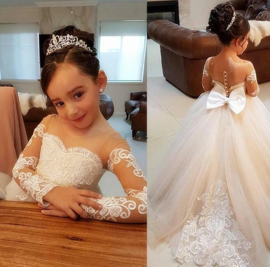 Licht champagner Vintage Blume Mädchen Kleider Für Hochzeiten Nach Maß Prinzessin Appliqued Spitze Kinder Erstkommunion Kleid