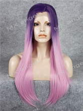 K02 Purple Root To Pink Ombre Color Straight Synthetic Lace Front Wig Heat Resistant Heavy Density
