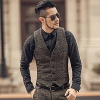 2018 New arrival winter men's slim woolen casual plaid European style vest Mens fashion brand design suit vest waistcoat fashion
