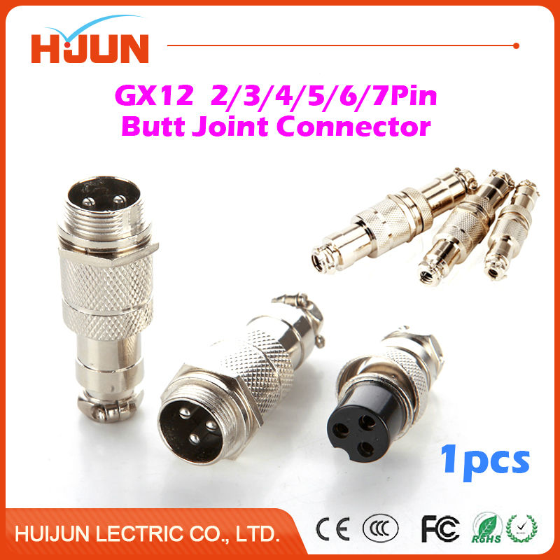 1pcs GX12 2/3/4/5/6/7 Pin 12mm High Quality Male &  Female Butt Joint Connector Aviation Plug Circular Socket+Plug 3 2 7 12
