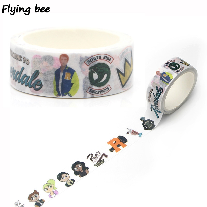 Flyingbee 15mmX5m Paper Washi Tape Riverdale Creative Adhesive DIY Scrapbooking Sticker Label Masking X0261