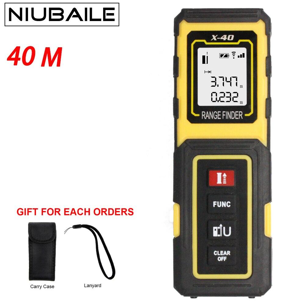 NIUBAILE 40 M 131ft Laser Telemetro Mini Digital Handheld Laser Distance Meter Range Finder Nastro di Misurazione Ottico Trena X-ZH