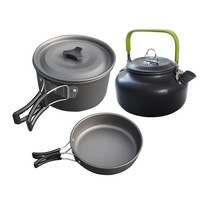 Outdoor aluminum camping survival tableware. Pot set. Kettle set 2 3 person set pot and teapot, camping cooker combination