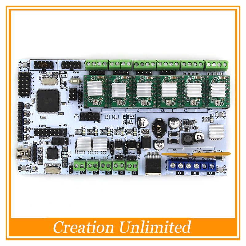 BIQU Rumba For 3D printer motherboard rumba MPU RUMBA optimized version control Board with 6pcs A4988 Stepper Driver diy biqu rumba 3d printer rumba control board lcd 12864 controller display jumper wire a4988 driver for reprap 3d printer kit103