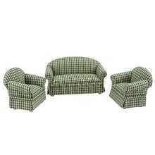 цена на 1/12 scale Dollhouse miniature furniture Plaid fabric Sofa and chair set 3pcs