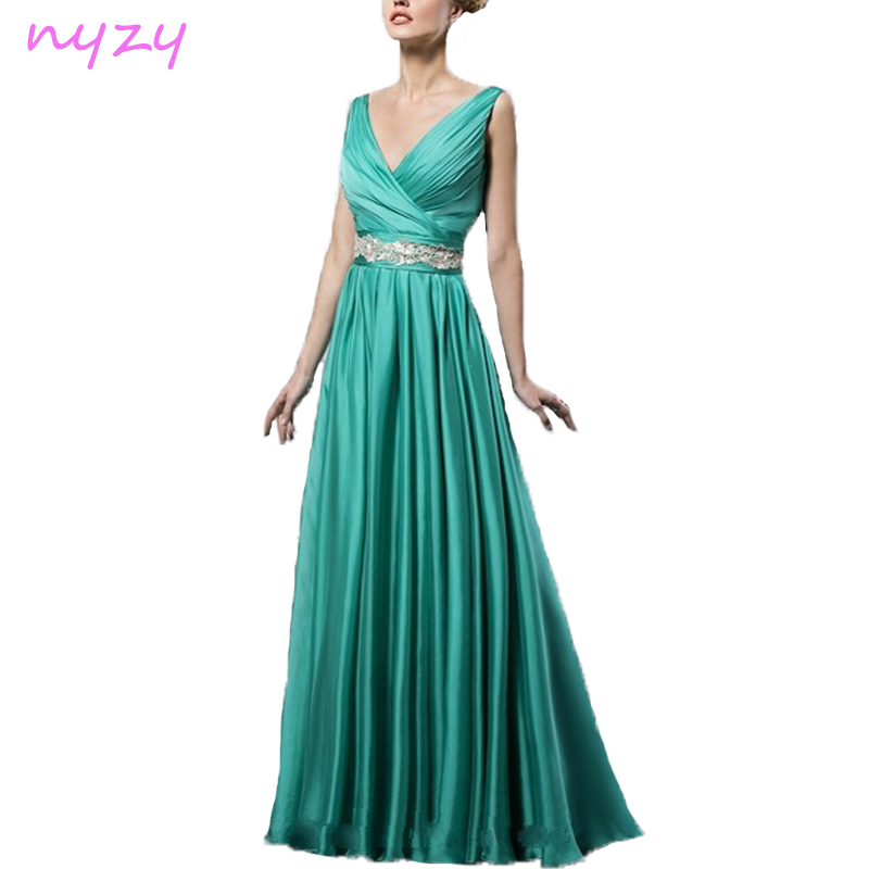 NYZY C30 Simple Elegant Long Cocktail Dress Low Back Turquoise Satin V Neck 2019 Robe Longue Wedding Guest Party Evening Gowns