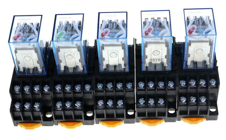 5PCS MY4NJ 12V 24V 110V / 220V Coil 5A 4NO 4NC Green LED Indicator Power Relay DIN Rail 14 Pin relay with socket base цены