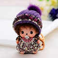 Monchichi Keychan Sleutelhanger Crystal Baby Dolls Pompom Key Chain lady Handbag car Charm pendant Love Gifts